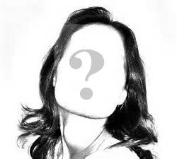 Line drawing of a woman's face with a question mark instead of features
