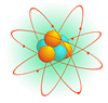 graphic of an atom showing particles traveling in circular path around a central core
