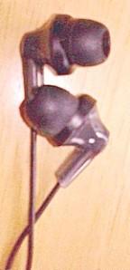Close up of Panasonic ear buds