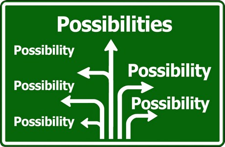 "Highway sign, with arrows labeled ""possibility"" pointing in many different directions"