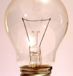 closeup of a lit lightbulb