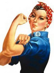 Woman with rolled up sleeve showing bicep from famous Rosie the Riveter WWII poster