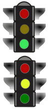 green & yellow traffic lights