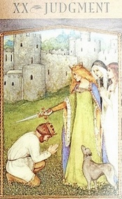 Judgment card from Goddess Tarot deck, showing Queen Gwenhwyfar extending a short sword above the head of a kneeling man
