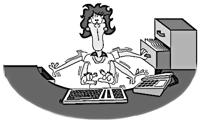 Busy woman at desk with 5 arms, typing, filing, and answering the phone all at the same time