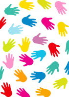 Many different colored hand prints in a swirling pattern