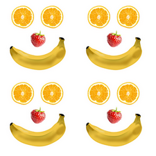 Four exactly alike smiling faces made from a banana mouth, orange slice eyes and a strawberry nose