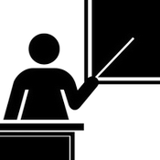 Silhouette of a teacher pointing to a blackboard