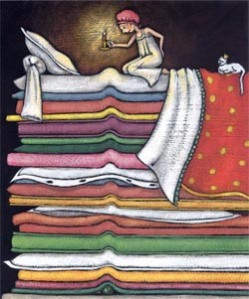 "An ullsutration from the fairytale, ""The Priness and the Pea"" of a girl on a stack of mattresses, with a pea under the bottom one, looking at her bed with a candle."