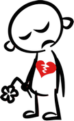 A black and white stick figure with a red heart cracked down the middle holding a drooping flower