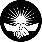 A graphic of a handshake between two people with the sun rising behind the clasped hands