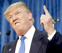 A picture of Donald Trump, making an unpleasant face and poking his finger in the air
