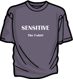 A drawing of a T-shirt with the words Sensitive, The T-shirt on the front