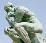 "An outdoor casting of Rodi's famous bronze statue, ""The Thinker"""