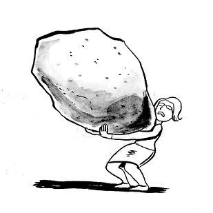 Cartoon by Dan Meth of a woman carrying a boulder twice her size