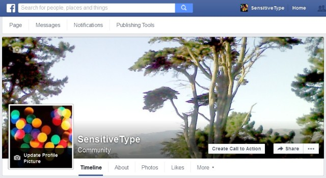 A screenshot of the SensitiveType Facebook page