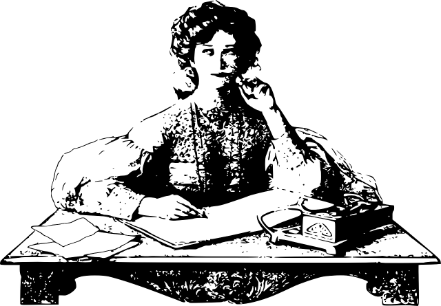 A vintage illustration of a woman seated at a desk with paper in front of her and a pen in her hand, staring thoughtfully into space