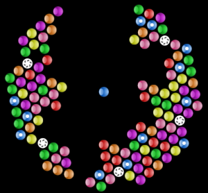 Screnshot of a half-finished bubble shooter game