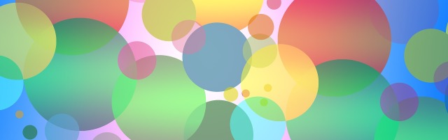 Overlapping circles of color against a pastel background