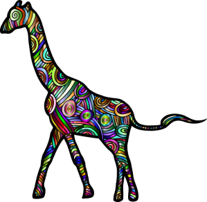 An artistic rendition of a giraffe, made up of many different colored shapes.