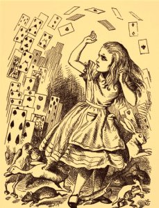 The deck of playing cards attacks Alice in Wonderland